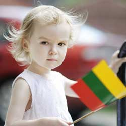 Lithuanian girl with flag