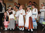 "Dancers from ""Krevukai"" await their performance"