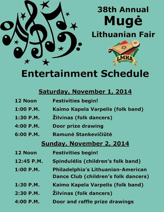 38th Annual Mugė Entertainment Schedule
