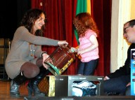 Freyja Platt drawing winners of Mugė raffle prizes as her father, Dan assists