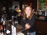 Laura Salciunas bartending in the Banquet Hall