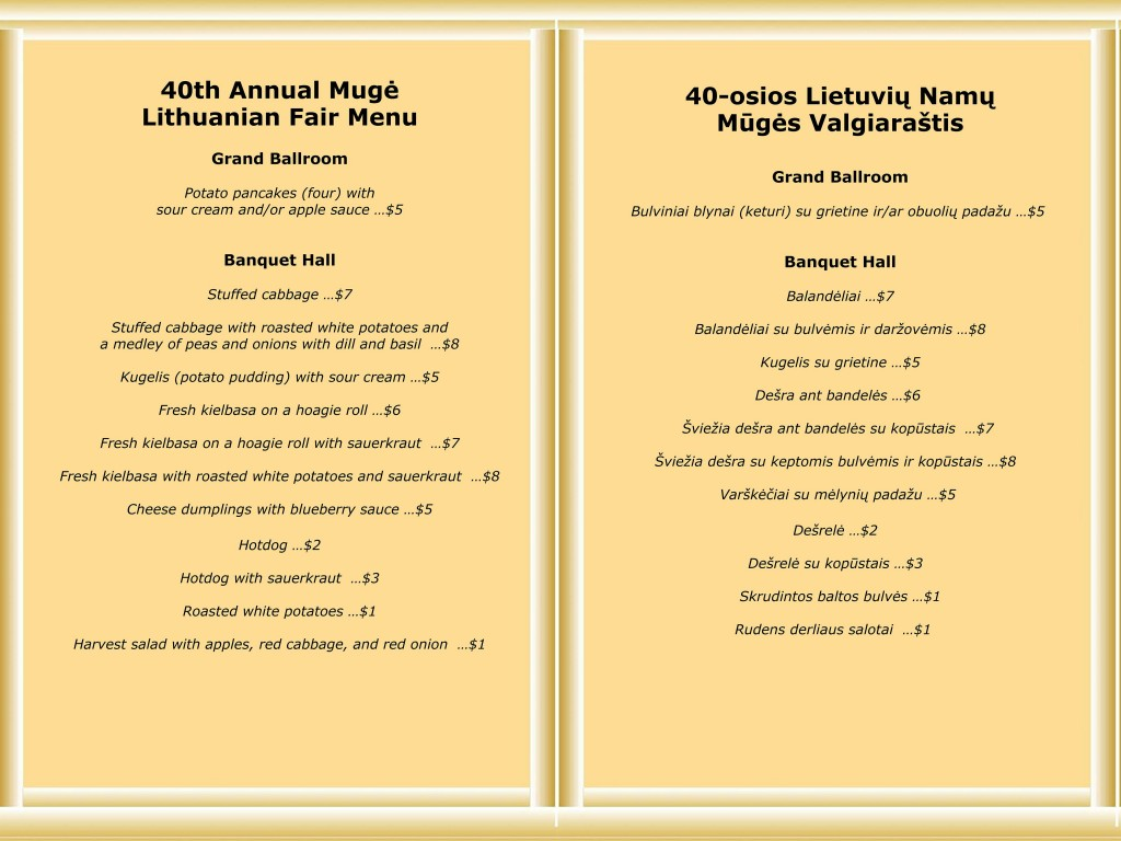 Menu for the 40th Annual Mugė Lithuanian Festival